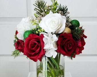 Large christmas table centerpiece real touch roses large etsy silk christmas centerpiece christmas real touch flower table centerpiece christmas floral arrangement christmas flower arrangement mightylinksfo