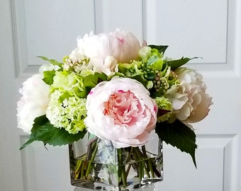 Silk flower arrangement etsy real touch peonies pink floral arrangement dining room centerpiece silk flowers centerpiece silk flowers arrangement in acrylic water mightylinksfo