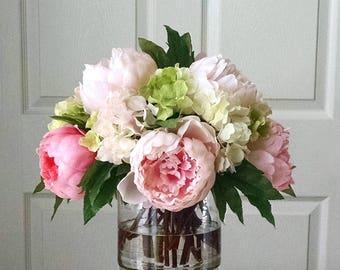 Flower arrangements etsy real touch flower arrangement large real touch peonies arrangement dining room centerpiece silk flowers table centerpiece pink peonies mightylinksfo