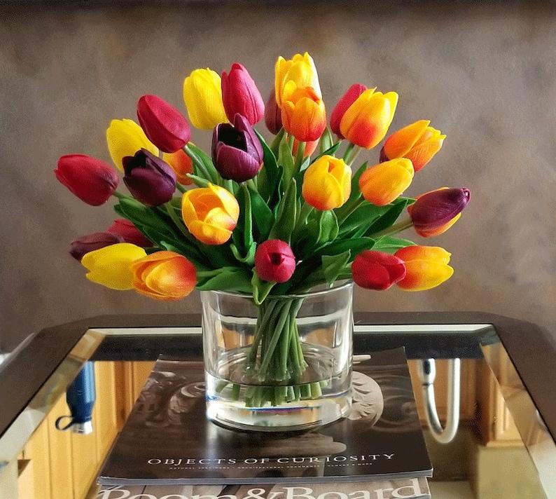 Real Touch Flowers Centerpiece-Faux Floral Arrangement image 5