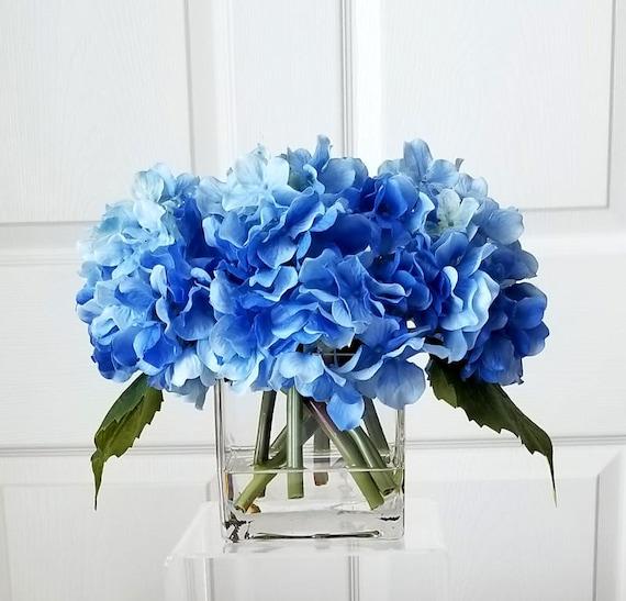 Blue Real Touch Hydrangea Blue Floral Arrangement Flower Etsy