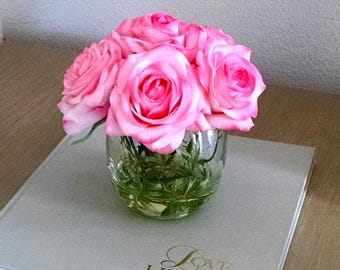 Pink flowers Arrangement-Real Touch Roses in Glass Container-Pink Silk flowers for Home Decor- Pink Roses Centerpiece