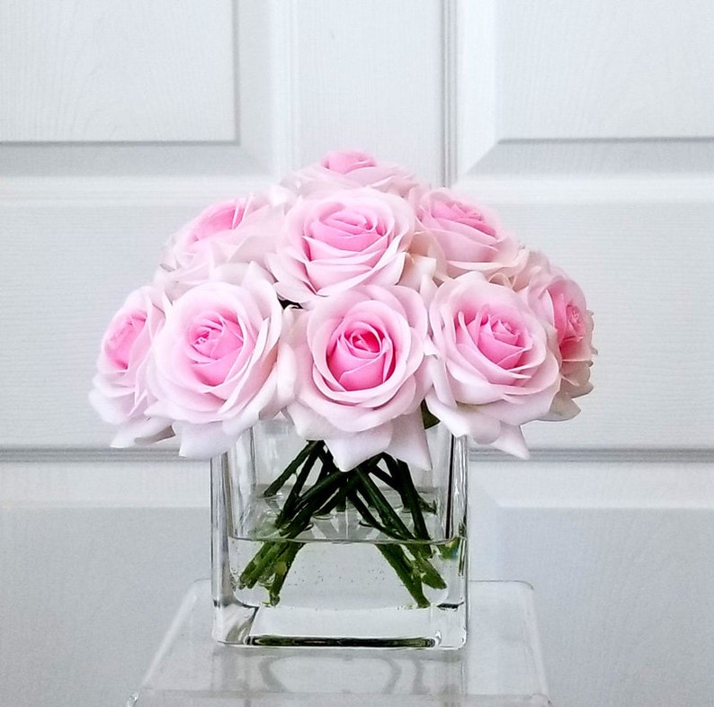 Enjoyable Pink Real Touch Roses Arrangement Silk Flowers In Home Decor Fake Flowers Silk White Flower Centerpiece Decor Real Touch Roses Pink Roses Interior Design Ideas Oxytryabchikinfo