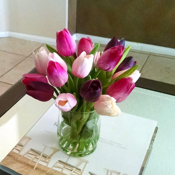 Artificial Flowers Arrangement Pinkburgundy Real Touch Etsy
