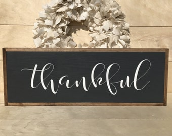 Large Thankful Sign: Thankful Sign; Farmhouse Style Sign; Thanksgiving Sign; Thanksgiving Decor; Farmhouse Thanksgiving Sign;
