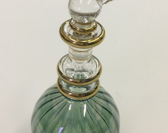 Winged Egyptian Hand Blown Glass Perfume Bottle