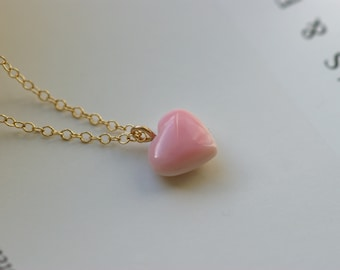 "12 PCS PINK CONCH CONCHO SHELL HEART CHARM PENDANTS 1/"" #3066"