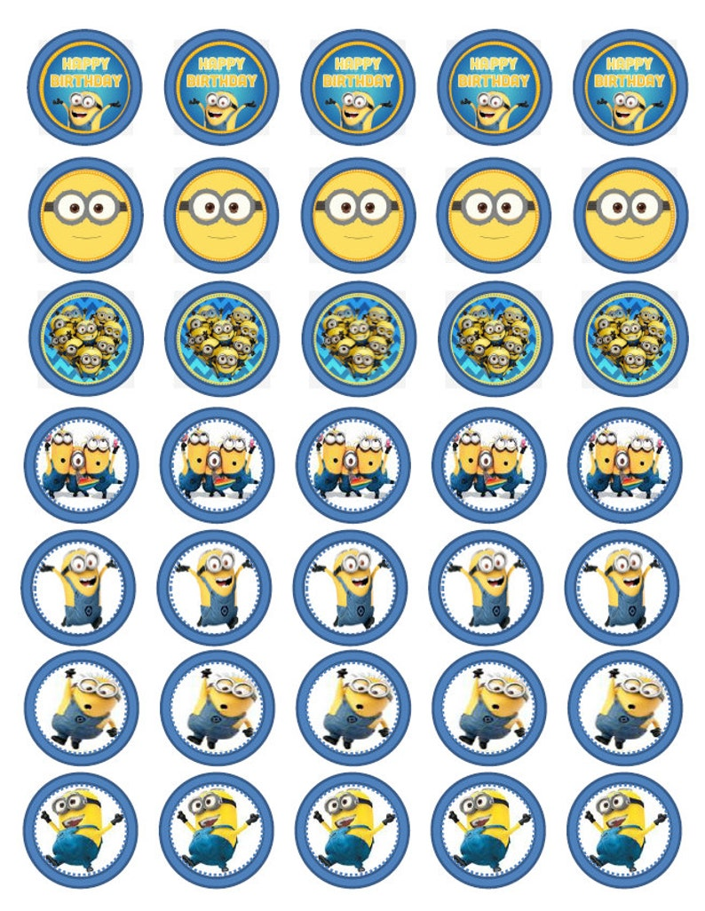 picture regarding Minion Symbol Printable referred to as Minion Despicable me impressed concept for little ones birthday Occasion decoration Cupcake Toppers PRINTABLE Instantaneous Down load