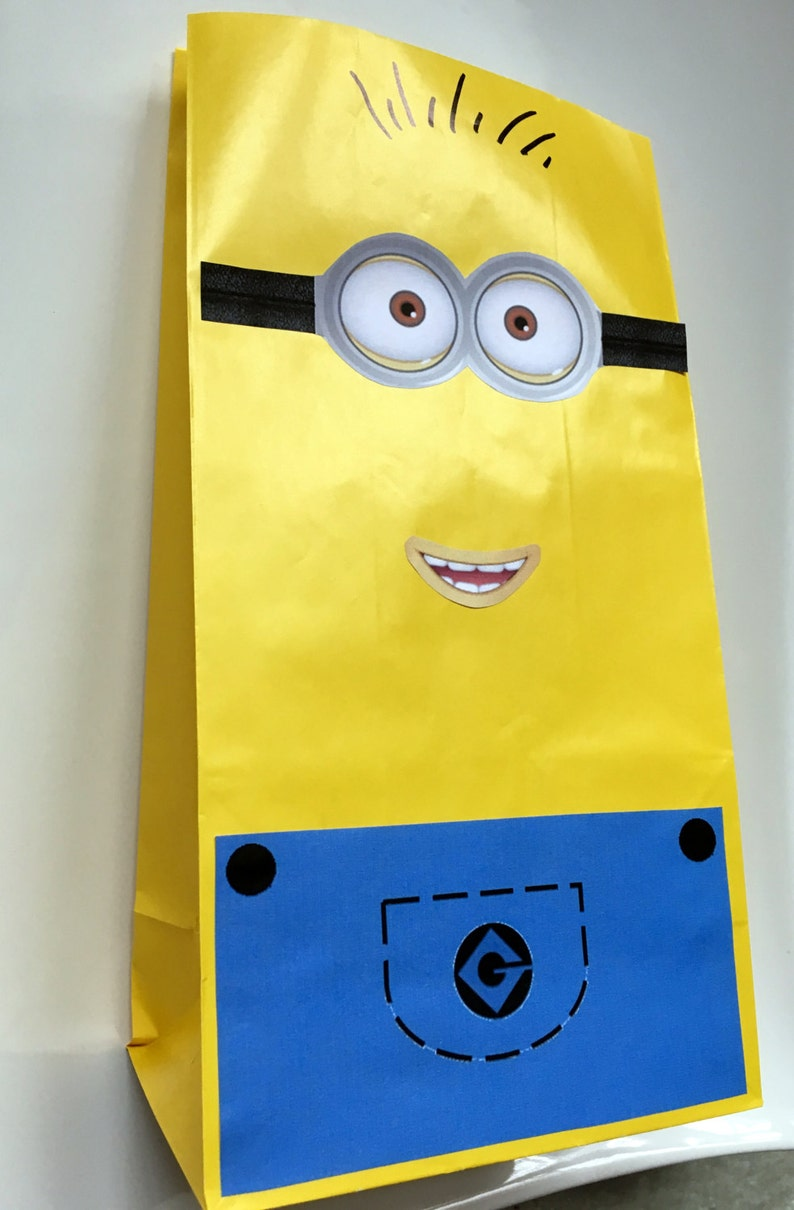 photograph relating to Minion Gru Logo Printable titled Minion Despicable me impressed thought for youngsters birthday Get together- Create a Minion Like Bag PRINTABLE Fast Down load eyes mouth and overalls