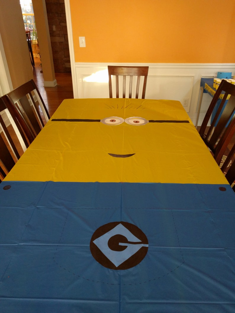 graphic relating to Minion Gru Logo Printable called Minion Despicable me influenced principle for little ones birthday Celebration decoration Minion Tablecloth PRINTABLE Fast Down load eyes mouth Gru overalls