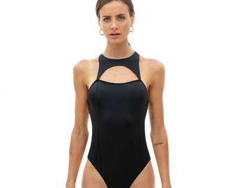a5b966d3cda One Piece Swimsuit, Black Swimwear, Sexy One Piece, Black Swimsuit, Open  Back Swimsuit, Vintage Style Swimwear, Open chest one piece
