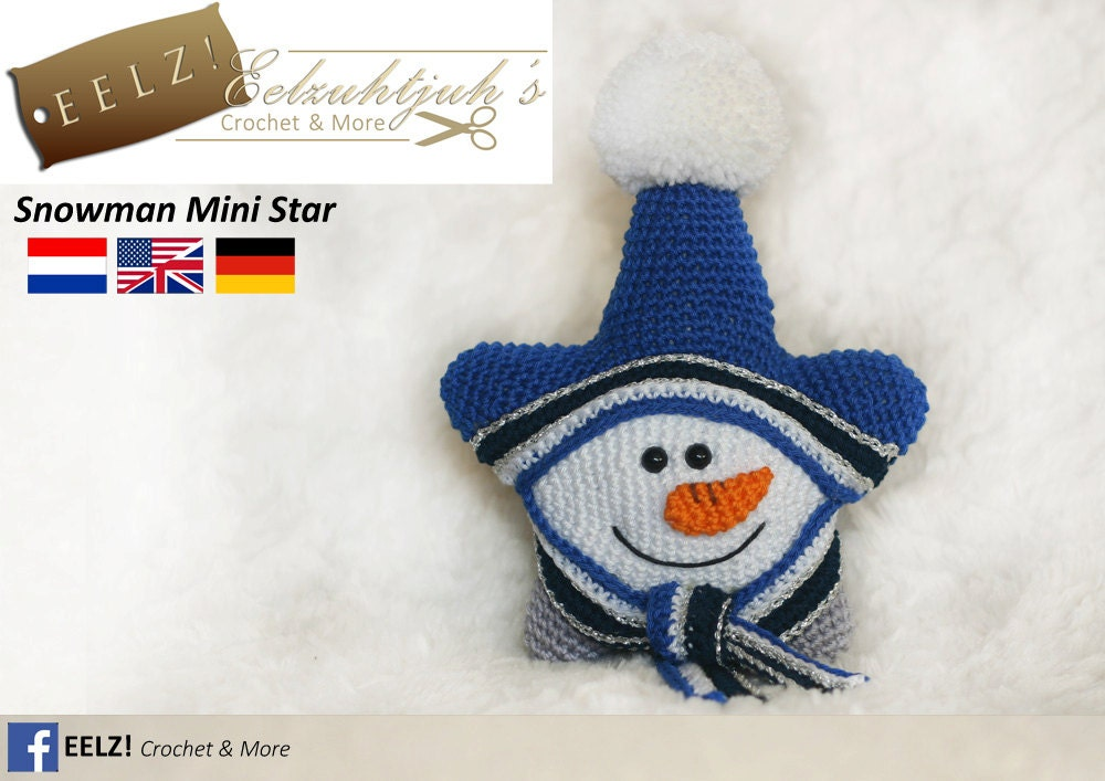 Mini Snowman Star Crochet Pattern Etsy