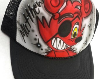 Airbrushed Five Nights At Freddy s Inspired Foxy Hat Trucker Snapback  Personalized 39efbd1a4d