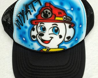 72ae36acbe2 Airbrushed Paw Patrol Marshall Inspired Hat Trucker Snapback Personalized  With Your Name