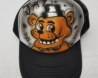 Airbrushed Five Nights At Freddy s Freddy Inspired Hat Trucker Snapback  Personalized b7adcb02be