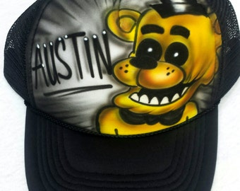 Airbrushed Five Nights At Freddy s Golden Freddy Inspired Hat Trucker  Snapback Personalized 88337c5f34