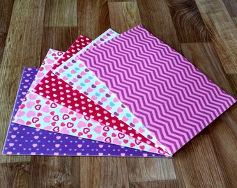 5 Printed Felt Sheets, Felt With a Pattern.