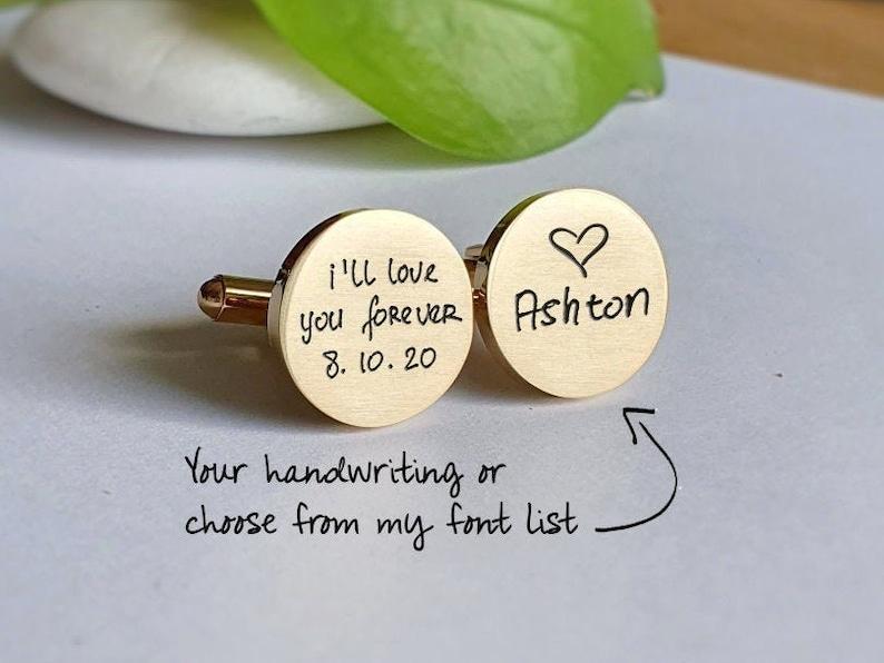 Handwriting CuffLinks Custom Dad Husband Rose Gold Cufflinks Groom Wedding Black Cuff links father day gift Personalized Cuff Links