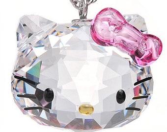 568fa7342 Hello Kitty Swarovski Crystal Silver Necklace - Hello Kitty Necklace - Crystal  Hello Kitty - Hello Kitty Jewelry - Hello Kitty Pendant