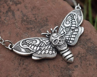 10K Small Butterfly Necklace Gothic Halloween Jewelry Gift Luna Moth Spooky Creatures 14K Rose Gold Deaths Head Moth Pendant