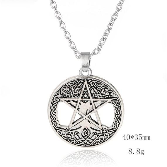 Vintage Fire Pentagram Black Dome glass Photo Art Chain Pendant Necklace
