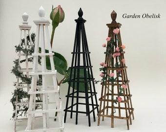Garden obelisk for plants miniature 1:12, miniature garden, rambling plants, dolls house garden