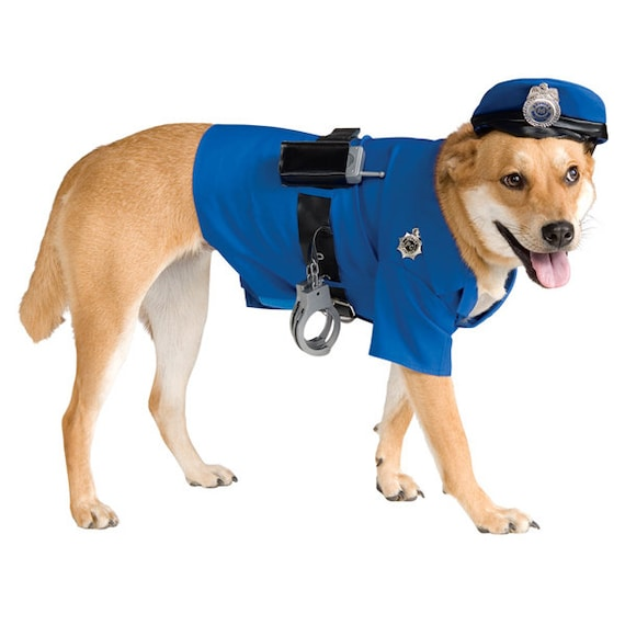Dog wearing blue police uniform with hat and handcuffs.