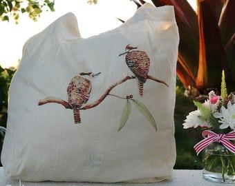 Calico Tote Bag // Kookaburras Watercolour