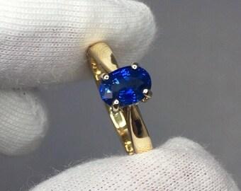 1.15ct Vivid Cornflower Blue Ceylon Sapphire Solitaire Engagement Ring 18k Gold