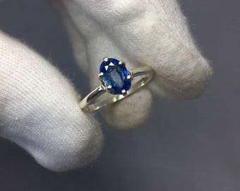 NATURAL 1.21ct Vivid Blue Ceylon Silver Solitaire Ring Oval Cut 925