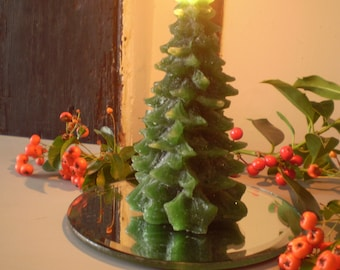 danish christmas gift setchristmas tree glitter candle and bevelled edge mirror candle plate