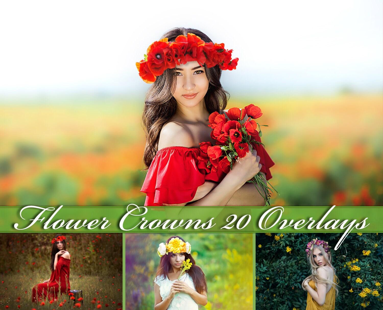 20 floral head wreaths overlays flower crown photoshop etsy izmirmasajfo