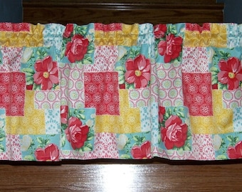 """Pioneer Woman Patchwork Valance Curtain Kitchen Cookware Utensils 60"""" Wide Dishes Cookware Utensils"""