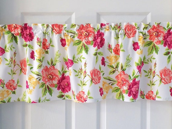 Fresh Mixed Flowers Floral Valance Curtain Window