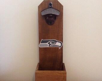 Wall Mounted Bottle Opener - Seattle Seahawks