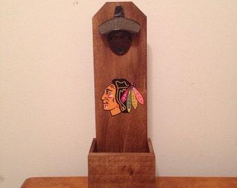 Wall Mounted Bottle Opener - Chicago Blackhawks