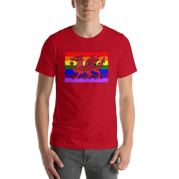 Pays de de Pays Galles gallois Gay Pride Rainbow Flag T-Shirt 91baac