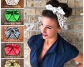 Tiny Florals Miranda Retro Hair Wrap Tropical Wide Self Tie Headband Bow Head Scarf Flowers 1950s 1940s Rockabilly PinUp Vintage Adult Size
