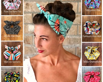 HEAD SCARF HAIR BAND ORANGE BLUE STRETCH  NECK TIE ROCKABILLY pin up SWING NEW