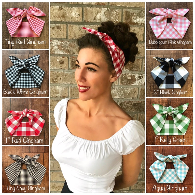 Vintage Western Wear Clothing, Outfit Ideas     Gingham Check Miranda Retro Hair Wrap Wide Self Tie Headband Bow 1950s Head Scarf Rockabilly PinUp Vintage Adult Red Blue $17.00 AT vintagedancer.com