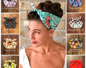 Retro Mid Century Modern Miranda Hair Wrap Wide Self Tie Headband Geometric Atomic Head Scarf 1950s 40s 1960s Rockabilly PinUp Vintage