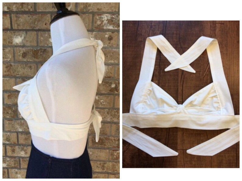 Solid White Ava Halter Top Vintage Style Flap Bow 1950s Retro Rockabilly Midriff Tie Crop XS S M 30A-34DDD