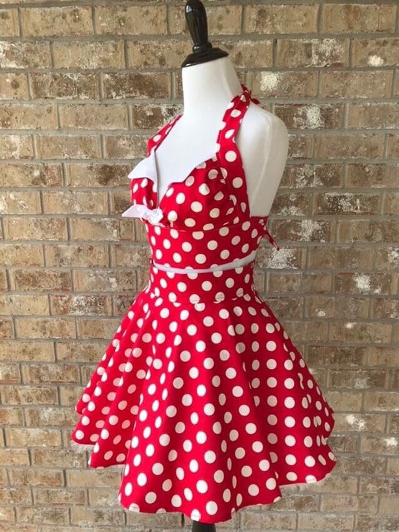 Custom Made Red Polka Dot Retro Playsuit Set Circle Skirt Halter Top 1950s High Waisted Swing Rockabilly Minnie Monroe PinUp Any Size