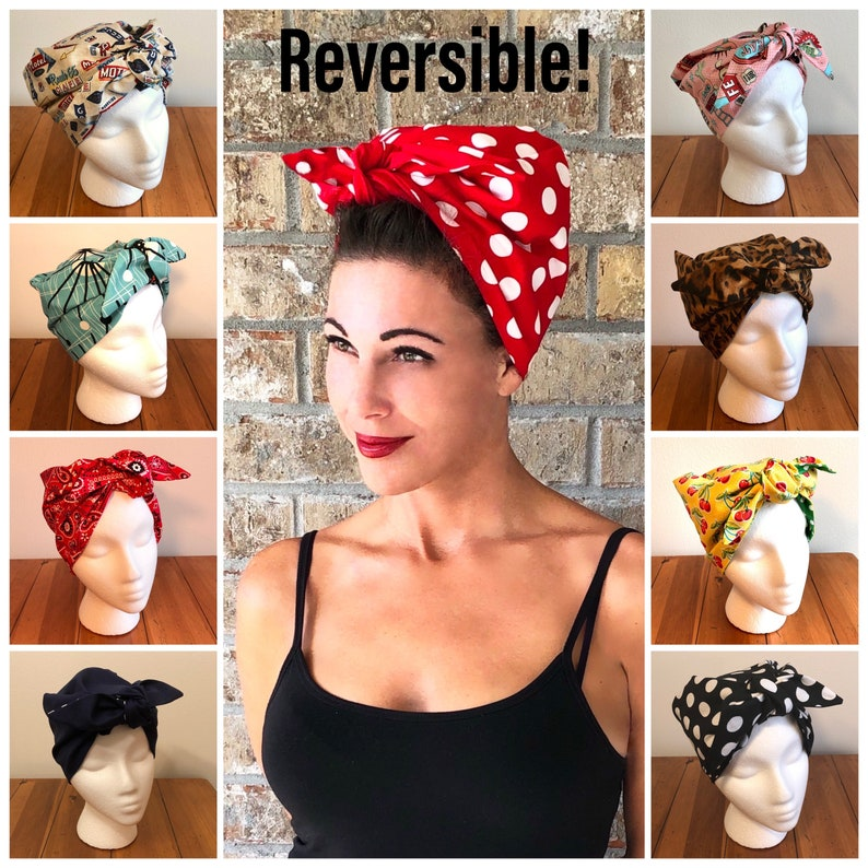 50s Hair Bandanna, Headband, Scarf, Flowers | 1950s Wigs NEW! Retro Reversible Full Head Hair Wrap Scarf Headband Rosie the Riveter Red Polka Dot 1940s 1950s Rockabilly PinUp WWII Vintage Chemo $29.00 AT vintagedancer.com