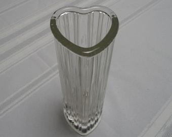 Ribbed Heart Shaped Glass Vase
