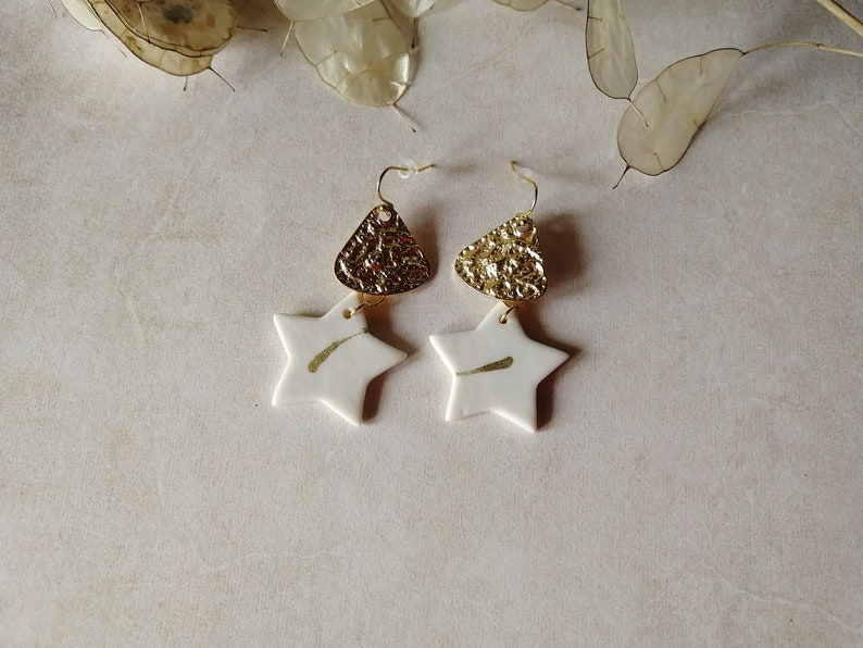 Ceramic earrings triangle holders porcelain star dying earrings white and gold gold hooks and connectors
