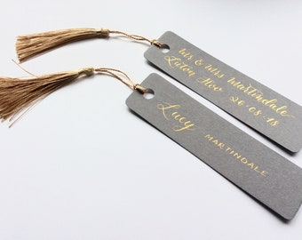 Handwritten Calligraphy Personalised Wedding Placecard with coordinating tassel