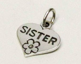 SISTER, HEART, CHARM, Sisters, Soul Sisters, Big Sister Gift, Sister Gift, Gift for Sister, Sisters Gift, Gifts For Sisters, Charms Only