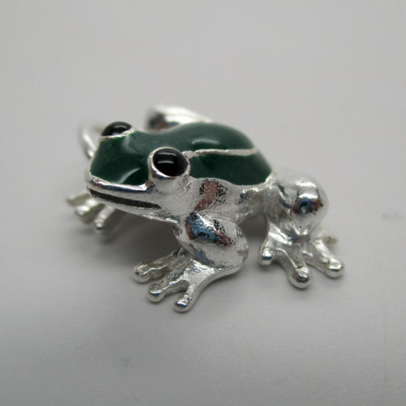 925 Sterling Silver Green Enameled Frog Charm and Pendant