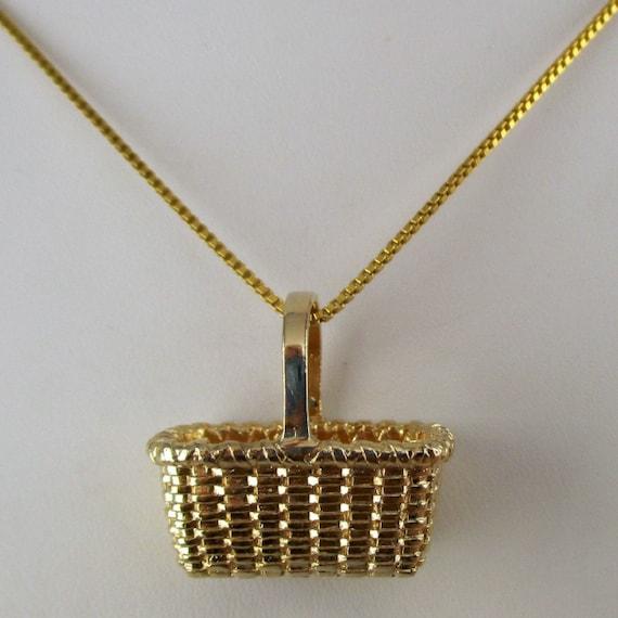 GATHERING BASKET, Basket Pendant, Basket Necklace,